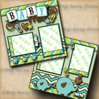 BABY BOY ~ 2 premade scrapbook pages paper piecing layout for album BY DIGISCRAP