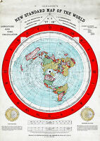 """Flat Earth Map of the World by Alexander Gleason made 1892 Poster Size 16""""x23"""""""