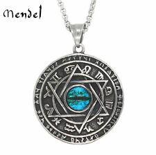 MENDEL Stainless Steel Evil Eye 6 Point Star Hexagram Occult Necklace Pendant