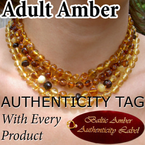 BALTIC AMBER ADULT NECKLACES natural health beads AGbA® Certified