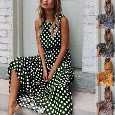 Womens Summer Polka Dot Maxi Dress Ladies Beach Holiday Long Dresses Sundress