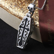 Punk Horrific Openable Cross Coffin Skeleton Pendant Necklace Halloween Gift