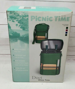 Picnic Time Duet Wine Tote With Cutting Board Cheese Knife Navy Blue