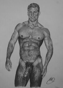 Male Nude By RCA Artist Neil. Original Graphite Drawing. Gay Art