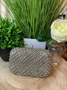 Jewel Silver Pearl Embellished Occasion Clutch Ladies Wedding Bags Gift Boxed