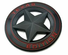 "TEXAS STAR EDITION 3"" EMBLEM BLACK AND RED UNIVERSAL STICKON TACOMA TUNDRA TRUCK"