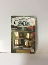 Gold Tone 3//4/'/' NOS Lot of 4 New Retro Style Chair Table Swivel Glides Brass