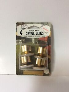 """NEW SEALED Vintage Tubular Metal Plated Swivel Glides 1 1/4"""" Angle or Straight"""