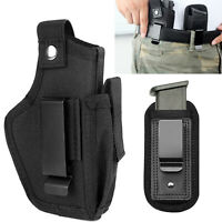 Tactical Concealed Carry OWB IWB Gun Pistol Car Holster w/ Magazine Pouch Black