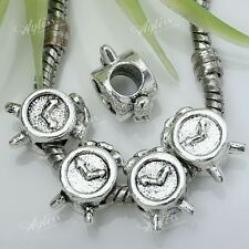 5x Tibetan Silver Clock European Big Hole Spacer Beads For Snake Charms Bracelet