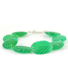 268.00 CTS EARTH MINED CARVED RICH GREEN EMERALD OVAL SHAPED BEADS BRACELET