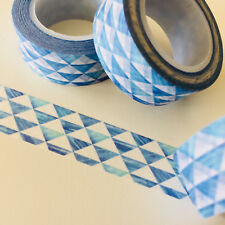 WASHI TAPE ROWS OF BLUE TRIANGLES 15MM X 10MTR ROLL PLANNER WRAP CRAFT SCRAP