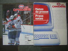 March 13, 1989 Notes de presse-Press notes Les Canadiens & program lineup insert