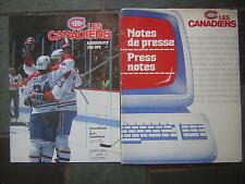 March 13, 1989 Notes de presse-Press notes Les Canadiens & program lineup insert