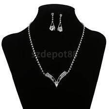 Cheap Jewelry Sets for Bridesmaids Silver Tone Crystal Necklace Earrings