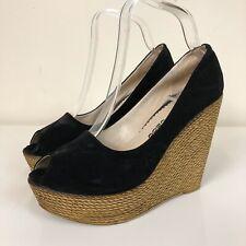 Ladies Black Faux Suede Wooden Peeptoe Chunky Wedges Shoes UK 6/39