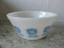 "LOVELY VINTAGE RETRO WHITE & BLUE "" F "" USA MILK GLASS / PYREX SUNFLOWER BOWL"