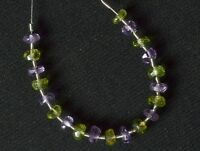 Faceted Amethyst Rondelle (3.5-4 mm) / Peridot Rondelle (3.5-4 mm) 73-20