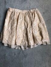 Zara TRF Cream Sequin Skater Skirt Medium