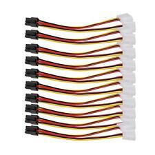 10x 4-pin IDE Y Molex Stecker zu 6-pin Buchse PCI-E Netzadapterkabel 15 cm