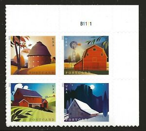 US Scott #5546-49, Plate Block #B1111 2021 Barns VF MNH Upper Right