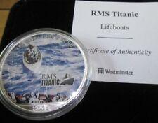 2005 RMS TITANIC COLOURED 1oz .999 SILVER EAGLE DOLLAR WITH BoxCOA LIFE BOATS