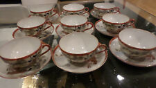 Set of 9 KUTANI - Japanese Egg-shell porcelain - Cups and Saucers