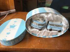 Mud Pie Prince First Tooth Haircut Ceramic Keepsafe With Original Lidded Box