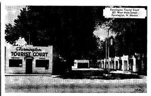 1940s NM Postcard 1949 Farmington Tourist Court Motel 601 West Main Cabins