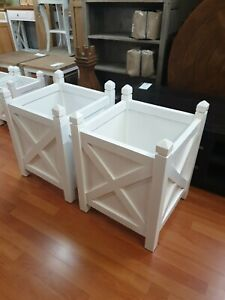 Large Hamptons French provincial white planter box plant holder plant stand