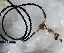 zarte synth. black opal und  spinell  kette, 925 silber + verg., bicolor