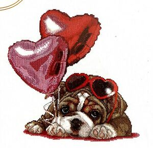 """Thea Gouverneur """"Valentine's Puppy"""" Cute Love Counted Cross Stitch Kit"""