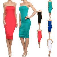 Strapless Solid Plain Mid Length Tube Dress Casual Cute Rayon Spandex S M L