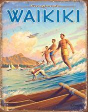 Surfside Waikiki Hawaii Vintage Retro Tin Metal Sign 13 x 16in