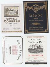 B1033/ LOT DE 4 ETIQUETTES VIN CHÂTEAUX MEDOC / BORDEAUX / 1964 1987 1995