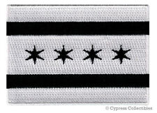 BLACK CHICAGO ILLINOIS CITY FLAG embroidered iron-on PATCH EMBLEM new applique