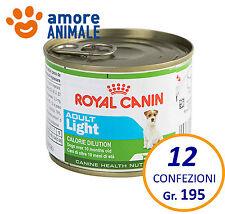 12 confezioni Royal Canin mini adult light 195 gr - umido cani piccola taglia