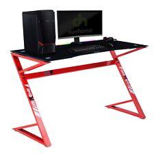 Mesa gaming profesional para ordenador con luces led RGB, carbono y rojo, Gamer