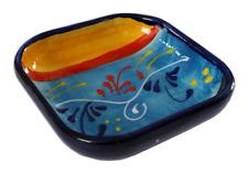 Square Tapas Dish Bowl 12x12 cm Traditional Spanish Handmade Ceramic Pottery