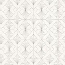 MODERN ART DECO GEOMETRIC FAN WALLPAPER WHITE / SILVER - RASCH 620931