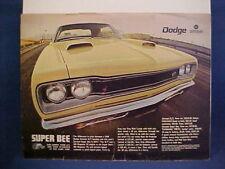1969 Dodge Coronet SUPER BEE full-color vintage estate ad--very nice 69 SuperBee
