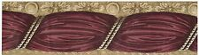 VICTORIAN SWAG WINE CURTAIN HANGING  GOLD BACK Wallpaper bordeR Wall Decor