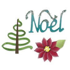 Sizzix Sizzlits NOEL SET 3pk Dies 658033 POINSETTIA Tree NOEL Karen Burniton
