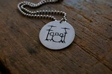 Hand Made Etched Drum Set Kit Pendant - Nickel Silver