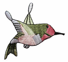 #4073 Ruby Throated Hummingbird Bird Embroidery Iron On Applique Patch—2-1/2""
