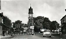 Newmarket Jubilee Clock Tower motor car RP old postcard used 1955
