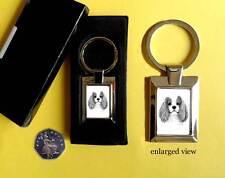 Cavalier King Charles Spaniel Dog Rectangular Chrome Plated Keyring Boxed Gift