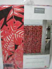 "NEW WESTONE PALM GARDEN Floral SHOWER CURTAIN 72""x72"" ~  RED /BLACK Flower"