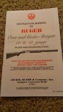 Ruger Over and Under Shotgun 20 & 12 gauge Owners Manual
