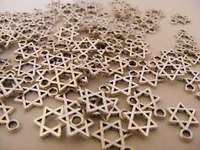100 X TIBETAN SILVER STAR OF DAVID CHARMS (JEWISH RELIGIOUS PENDANTS FOR JEWELRY